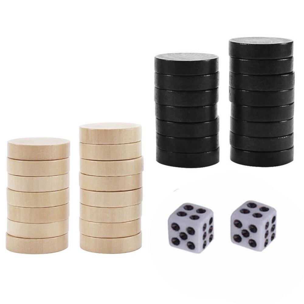 Деревянные шахматы нарды 30 штук с 2 игральными играми, настольная игра, шахматная фигура для детей, обучающая шахматная игра, кемпинг, развлечения