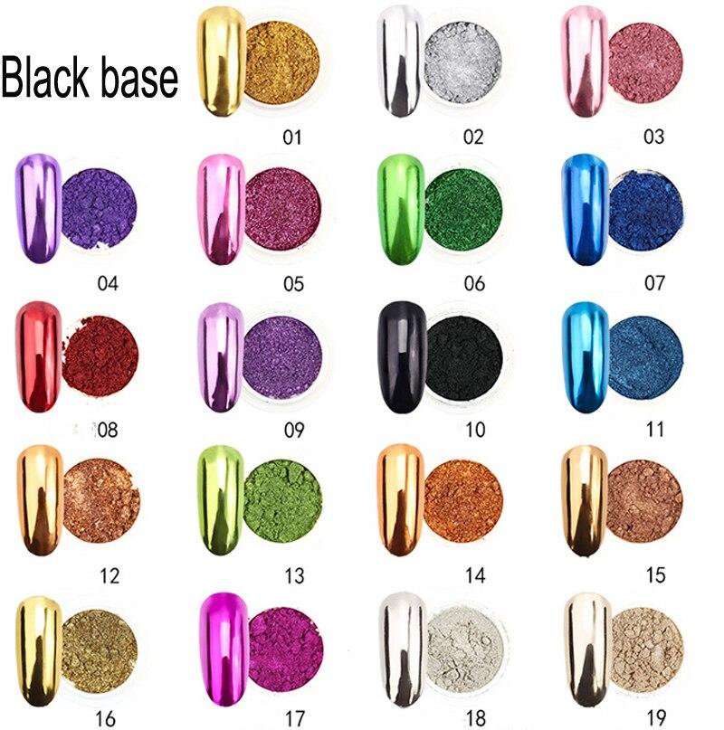 Зеркальный порошковый хромированный пигмент для ногтей, 1 шт., 19 цветов, 0,5 г, зеркальный пигмент, блестящий порошок для ногтей, JK47441