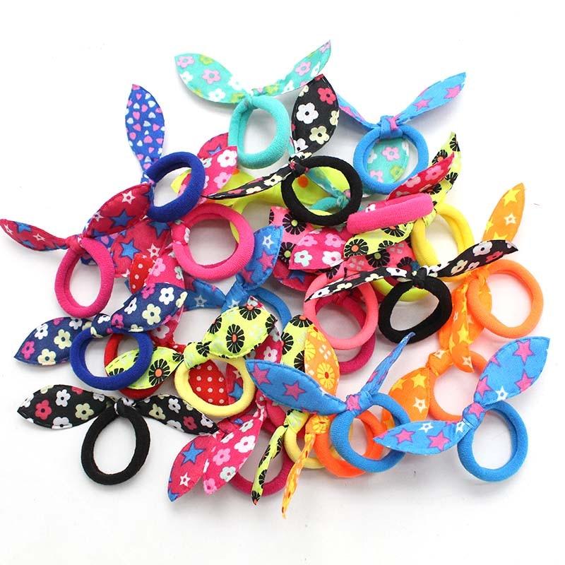 20 copë fëmijë rripa elastikë të flokëve, koka e veshëve të lepurit të lezetshme me polka, unaza vajzash scrunchie, mbajtëse bishti për fëmijë