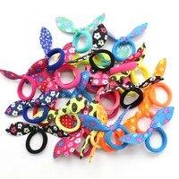 Набор детских резинок для волос с бантом, 20 шт., цвет в ассортименте, ободок с кроличьими ушами