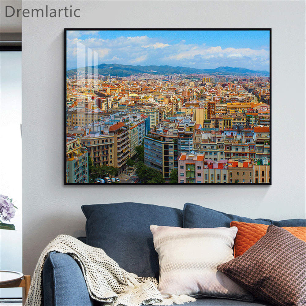 Impresiones artísticas para colgar en pared de Barcelona, lienzo de seda, imágenes...