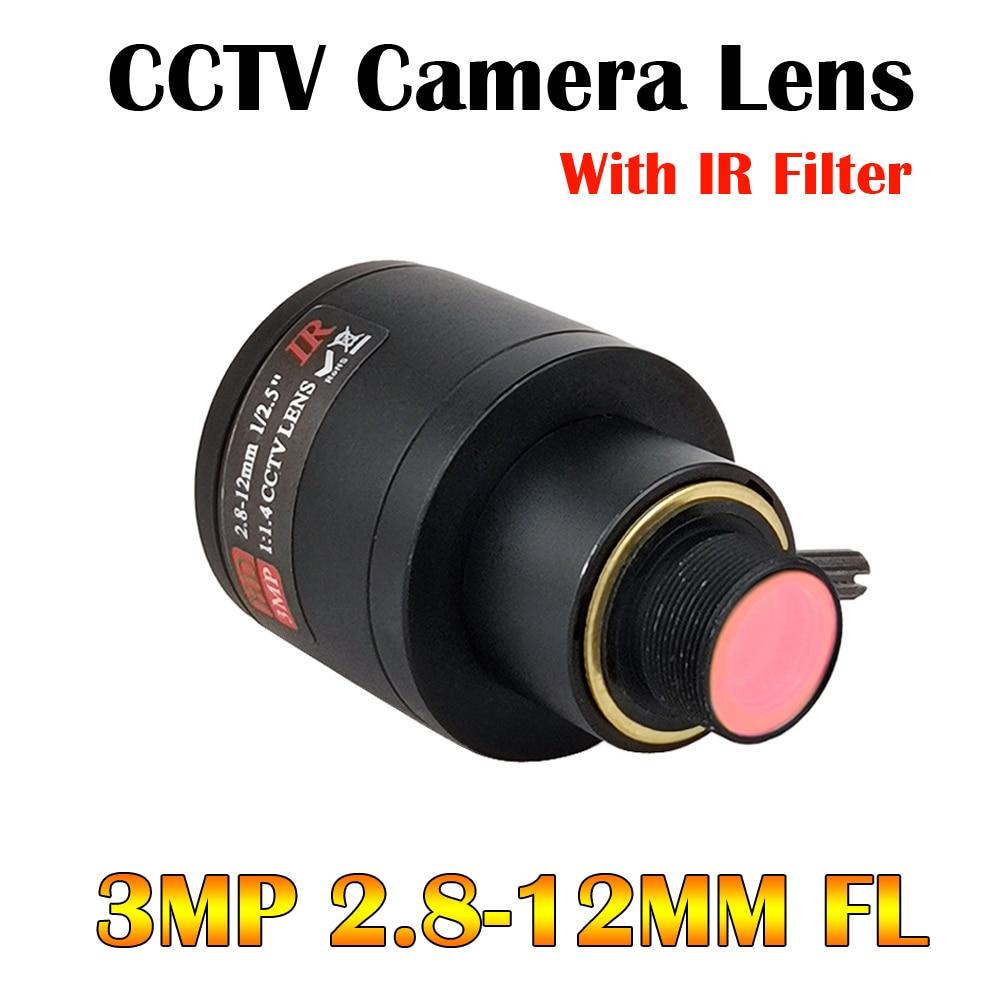 Lente Varifocal HD de 3 megapíxeles con filtro IR 3MP 2,8-12mm M12 montaje 1/2.5 pulgadas enfoque Manual y Zoom para Cámara de Acción Cámara deportiva