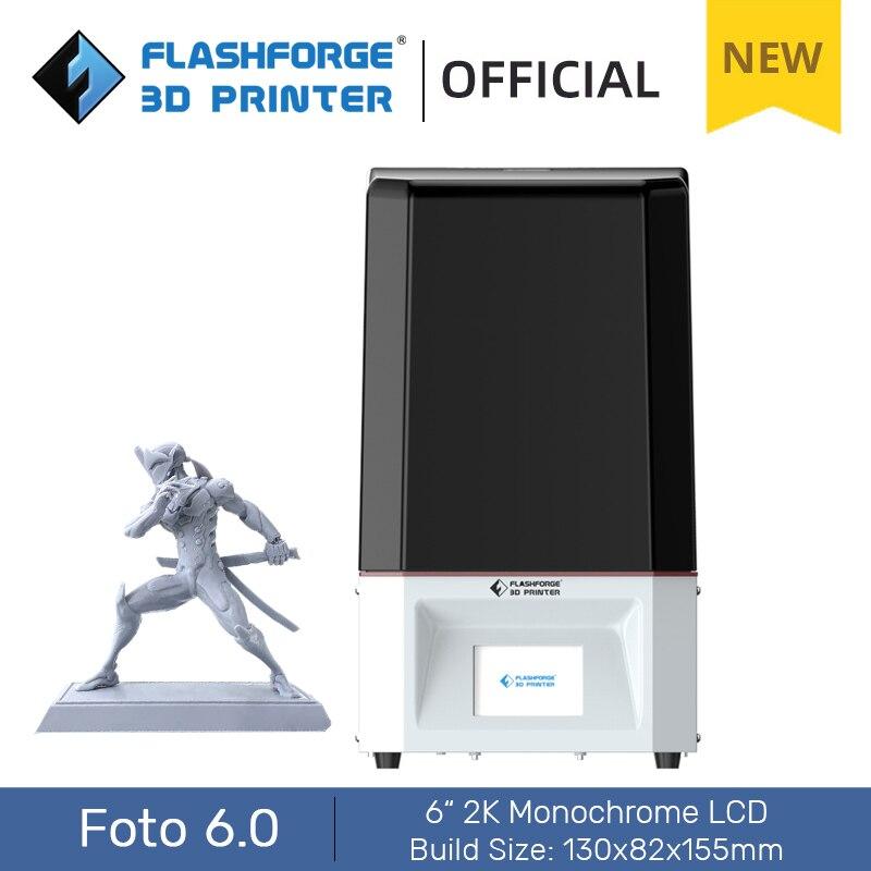 Flashforge Foto 6.0 3D Printer UV Resin Printers DIY Kit with 6 inch 2K Monochrome LCD Screen High Precision For Garage Kit Use