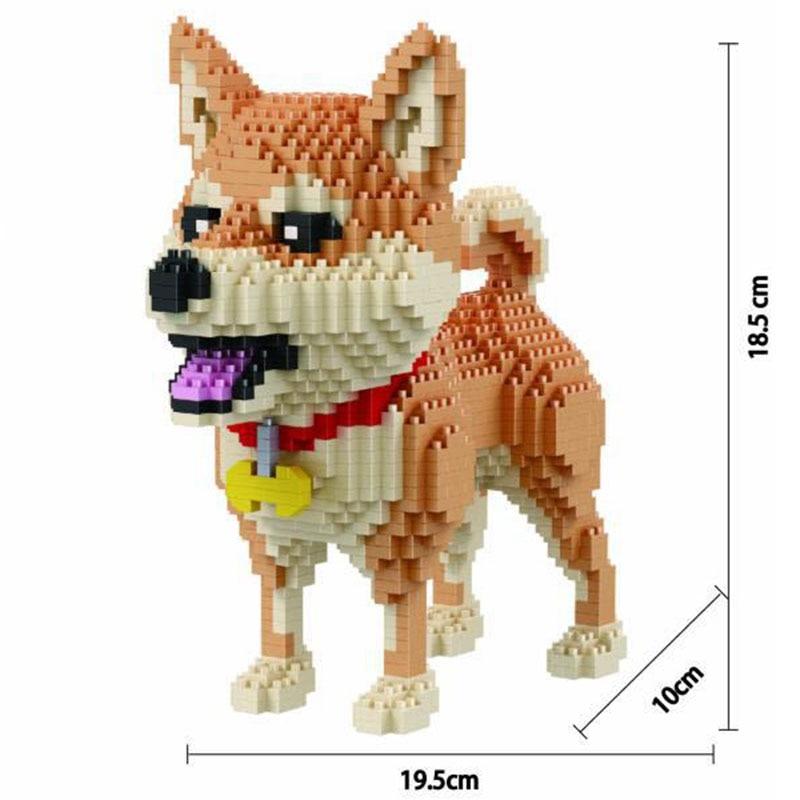 Микро алмаз маленькие частицы в сборе животные Милая мультяшная модель собаки строительные 3D блоки животных хаски собака Шиба ину