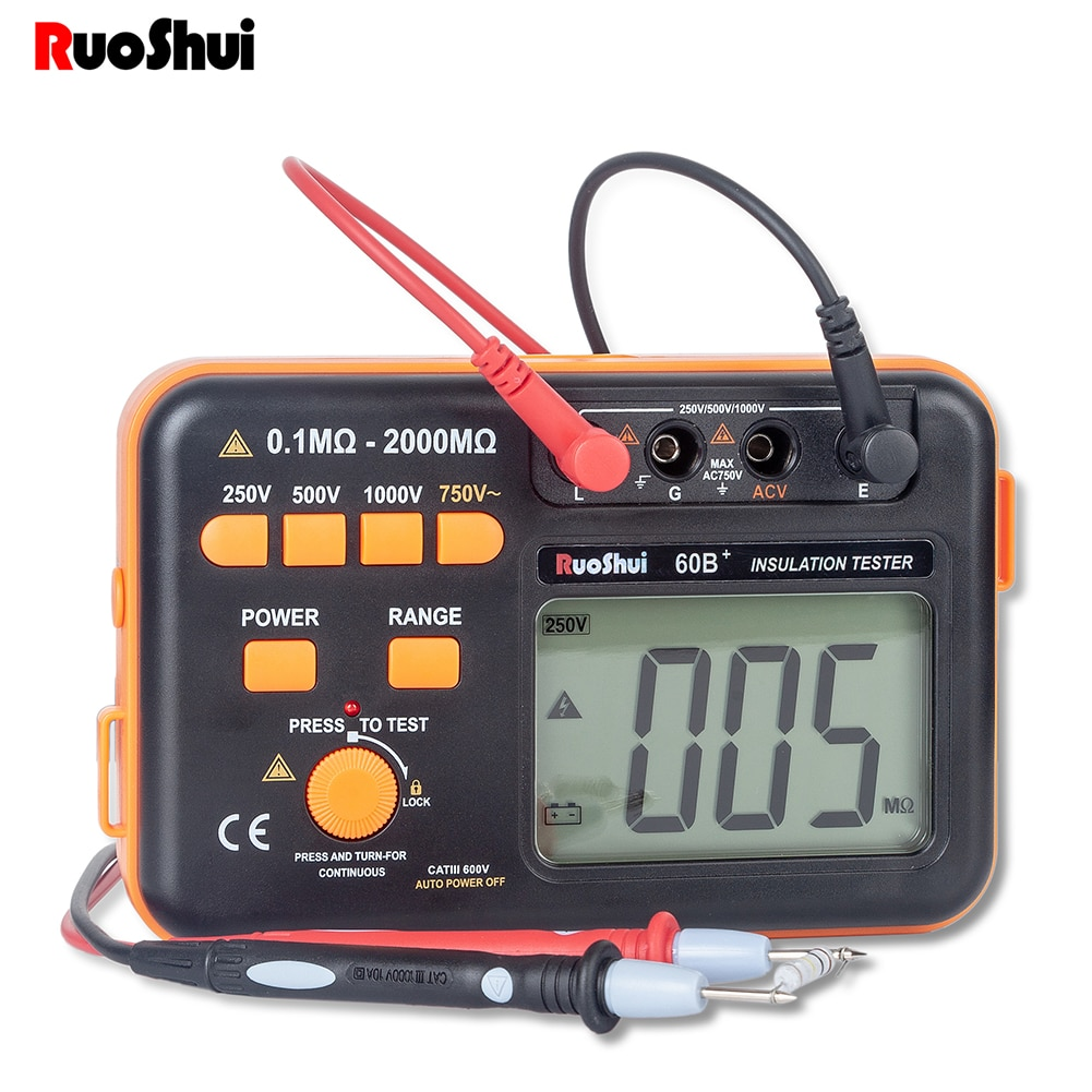 مقياس مقاومة العزل الرقمي روشوي 60B + 1000 فولت مقياس مقاومة العزل الرقمي مقياس مقياس الجهد العالي مقياس إشارة LED ترقية