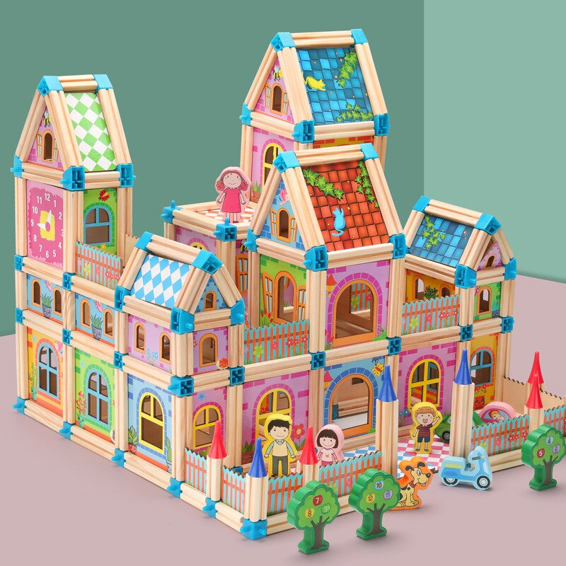 Casa de muñecas en miniatura DIY, casa de muñecas con muñeca de madera, casa de bloques de construcción, regalos para niños, tiempos festivos, 128 uds/268 Uds.