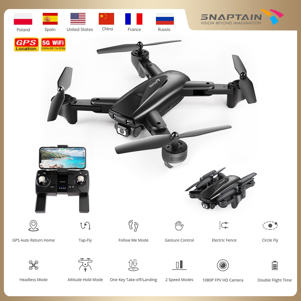 SNAPTAIN SPE500MQ Camera Drone dron 1080P HD Drones GPS 5G WiFi Drones Foldable FPV RC Quadcopter Hight Hold C kids RC drone