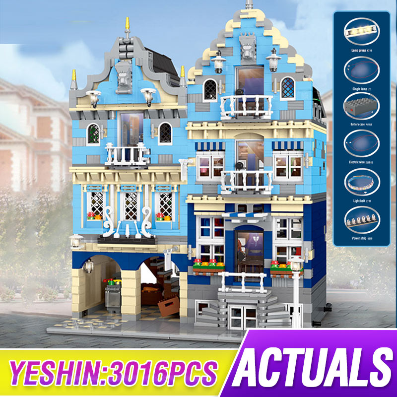 Mould King MOC The Factory City Street European Market 15007 Creator Building Model Educational Blocks Toys Birthday Gifts