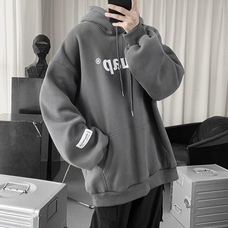 هودي رجالي كوري ، ملابس ترفيهية ، فضفاض ، ملابس الشارع ، كبير الحجم ، BG50HS
