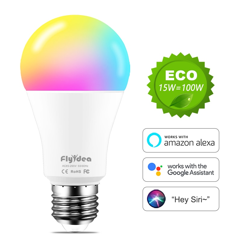 WiFi Bulbs E27 LED Smart Light Bulb Neon Changing Lamp Siri Voice Control Alexa Google Assistant 100