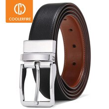 Cinturones de cuero genuino para hombre, correa de cuero genuino con hebilla giratoria, reversible, informal, HQ113
