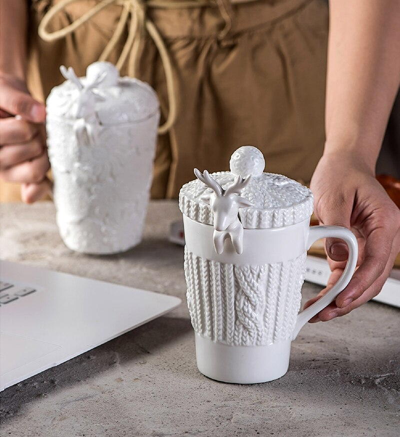 Taza de porcelana con diseño de reno con cuchara, 320ML, regalo de Navidad, tazas de café de cerámica vintage, creativa