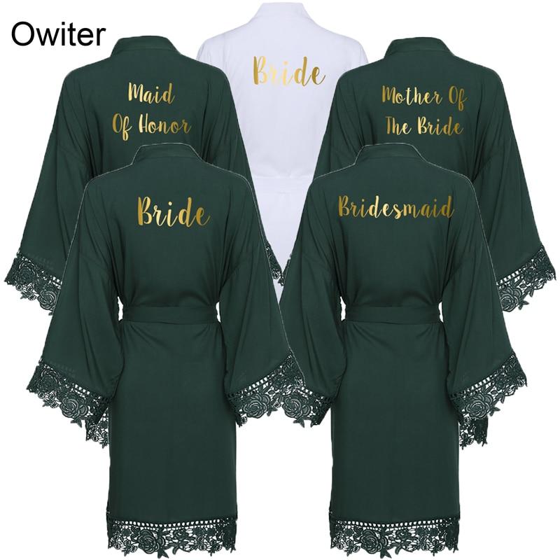 AliExpress - Owiter 2019 Green Solid Cotton Kimono Bride Bridesmaid Robes with Lace Trim Women Wedding Bridal Robe Bathrobe Sleepwear White