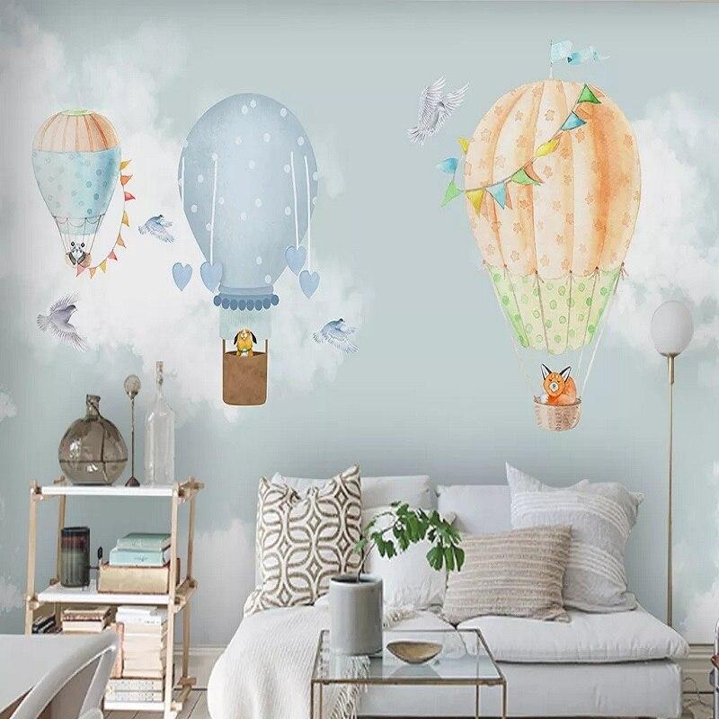 Mural grande personalizado 3D papel pintado moderno nórdico globo de hidrógeno animal niño dormitorio mural TV decoración de pared trasera 5D en relieve