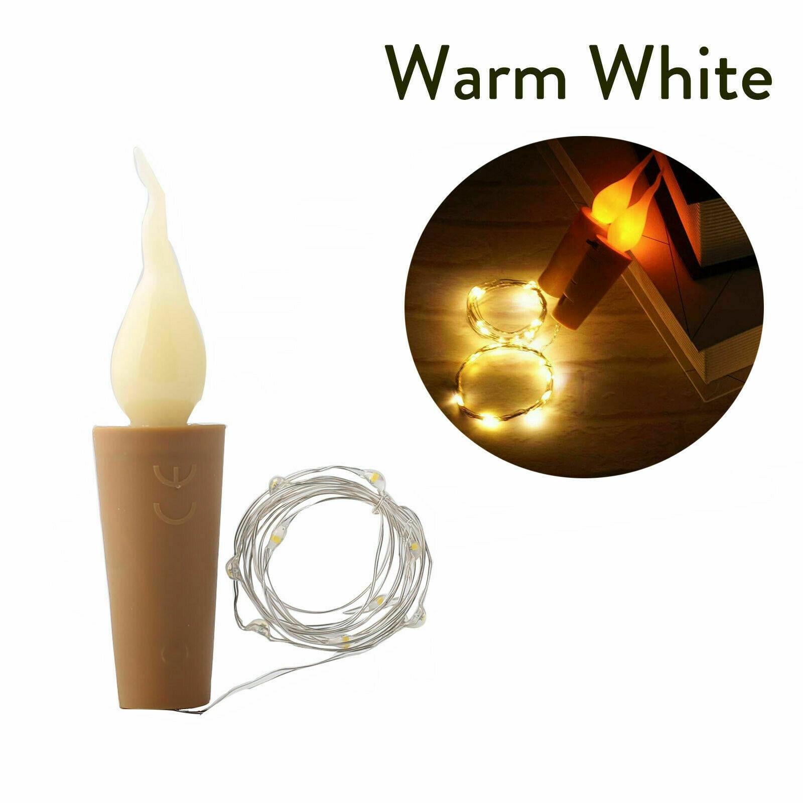 2m 20 LED batterie flamme blaze bouteille lumières LED liège forme chaîne lumières Bistro vin étoilé Bar fête saint valentin nuit lumière