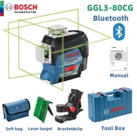 bosch 12 line laser level high precision with bluetooth 360%c2%b0 indoor and outdoor marking green instrument gll3 80cg self leveling