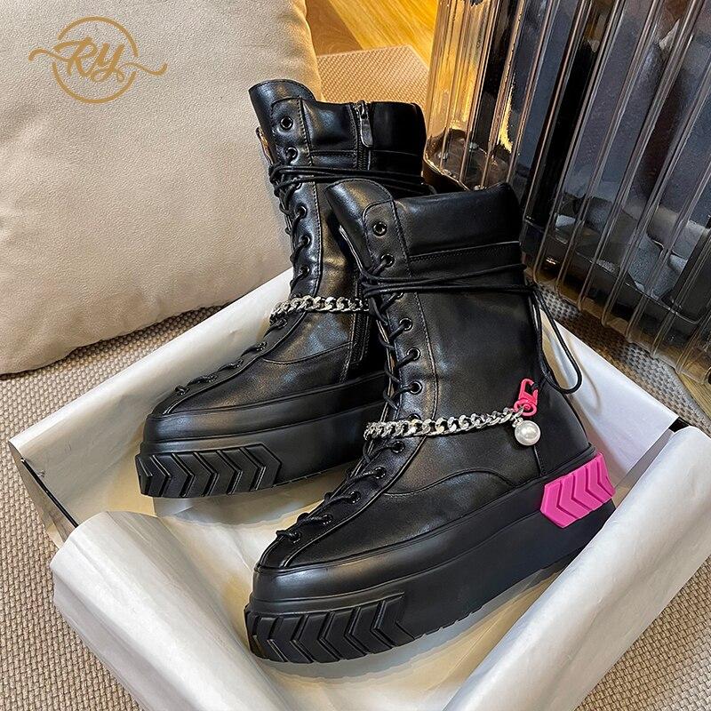 RY-RELAA أحذية نسائية أوروبية موضة جديدة أحذية الخريف للنساء جلد طبيعي ankel أحذية للنساء 2021 ins منصة الأحذية