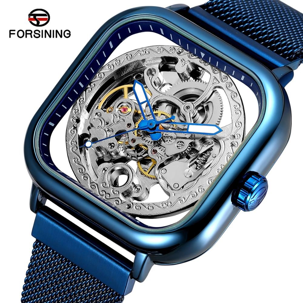 Relojes azules Forsining para hombre, vestido de moda mecánico automático, reloj de pulsera cuadrado de esqueleto, reloj analógico de malla delgada con correa de acero