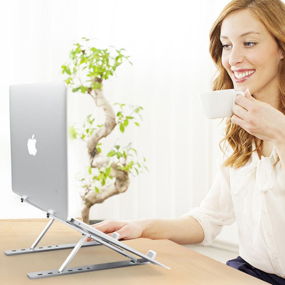 Suporte portátil dobrável do portátil do suporte de mesa do portátil de alumínio ajustável na cama do escritório em casa
