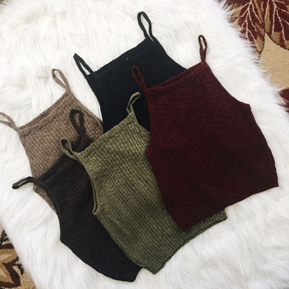 New Fashion Slim Knitted Vest Summer Bottoming Camisole Women Vest Crop Tops Sexy Sleeveless Tank Top Female Knitwear недорого