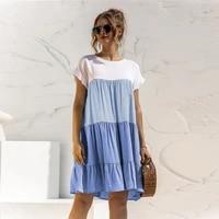 2021 summer ladies elegant ruffled short sleeved o neck loose dress new casual color matching simple fashion mini vestidos skirt