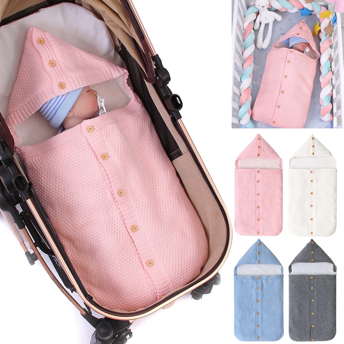 Winter Warm Newborn Baby Sleeping Bags Infant Button Knit Swaddle Wrap Swaddling Stroller Wrap Toddler Blanket Sleeping Bags