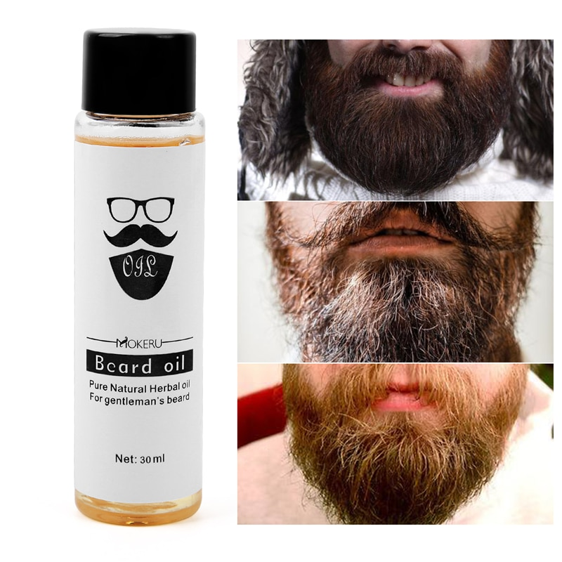 30ml Mokeru 100% Natural Organic Beard Oil Beard Growth Oil For Men Beard Grooming Treatment Shiny Smoothing Beard Care