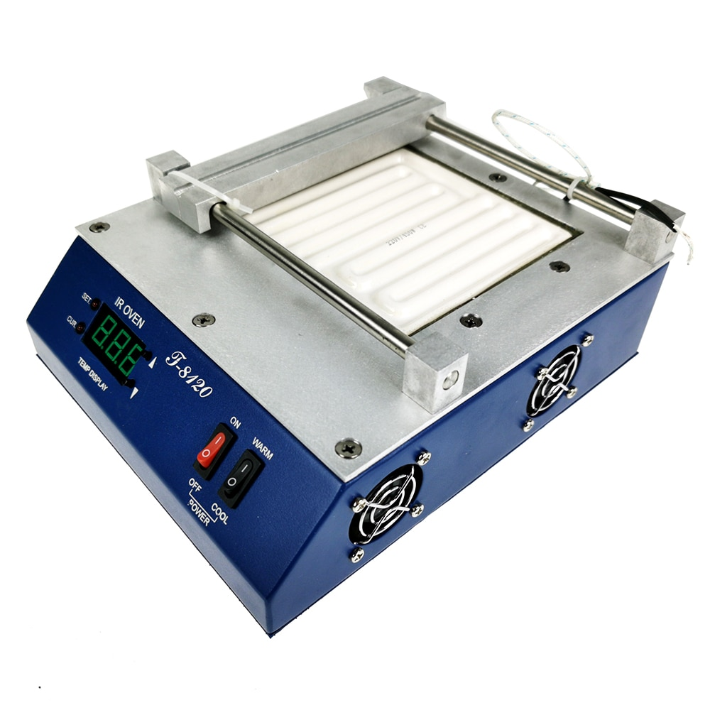 new 80 80mm 450w infrared top upper four specifications bottom ceramic heating plate for bga rework station tools PUHUI T-8120 Preheating Oven T8120 Preheating Plate Infrared BGA Rework Station IRDA Weldering Station Kit Soldering Station