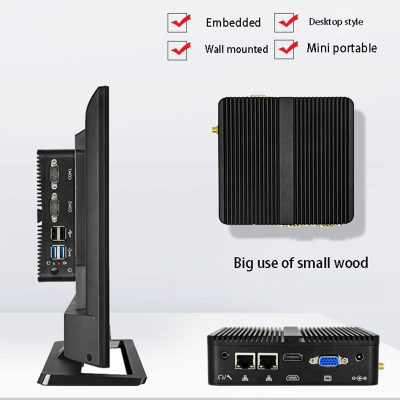 J1900Quad-Core Mini Industrial Computer Barebones Dual Network 4G Fanless Industry Computer Suitable