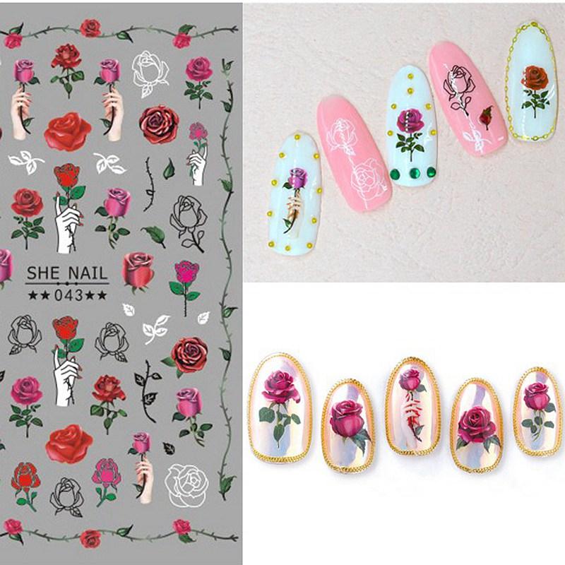2 листа/лот самоклеющиеся различные красивые розы ромашки лист цветочный узор ногтей наклейки украшения Маникюр DIY SHE #