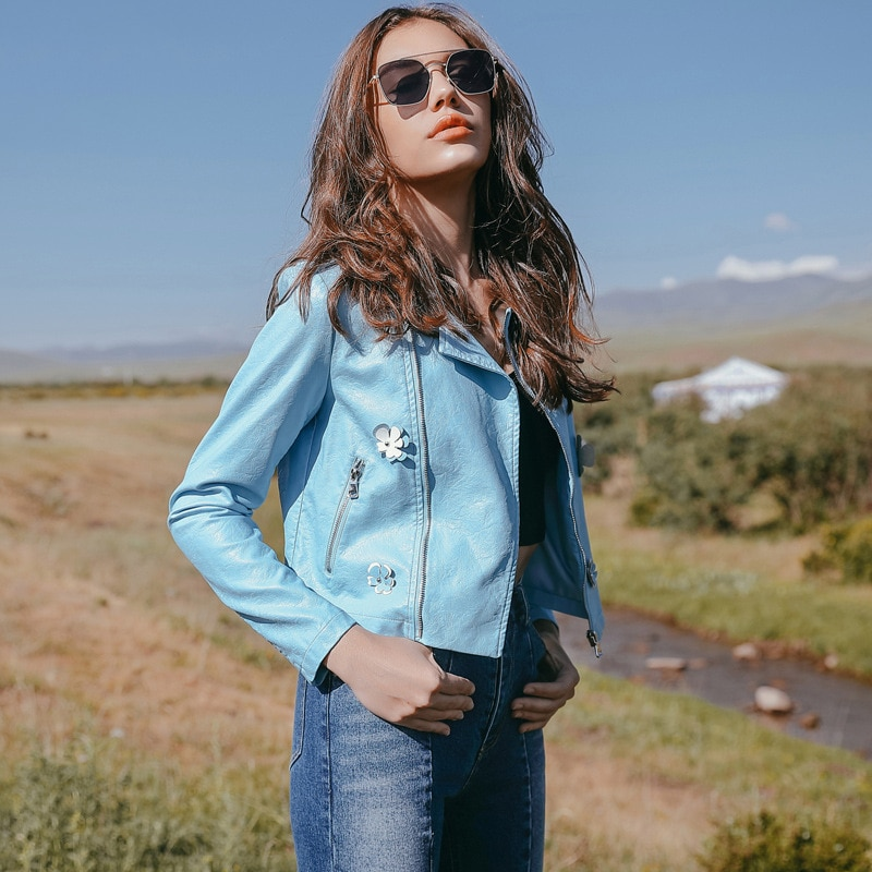 2019 spring and autumn new women's jacket European and American style leather short pu leather suit body two-color small coat enlarge