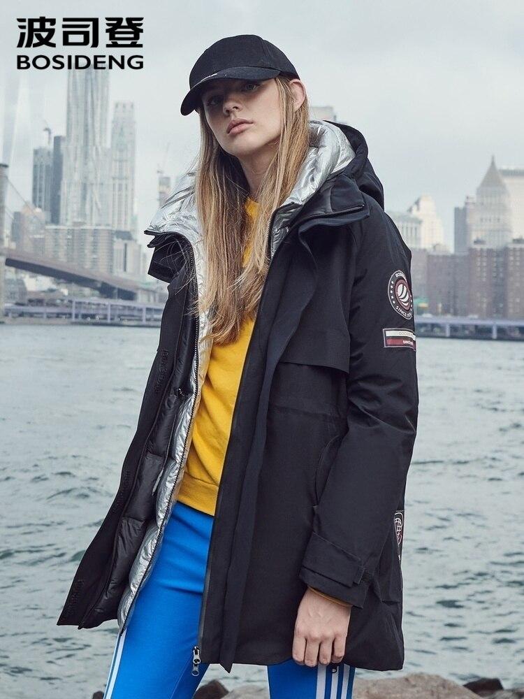 Para Mujer BOSIDENGs invierno Down Jacket sombreros dobles con capucha medio-largo Parkas a prueba de viento Casual Down Jacket For Women B90142156