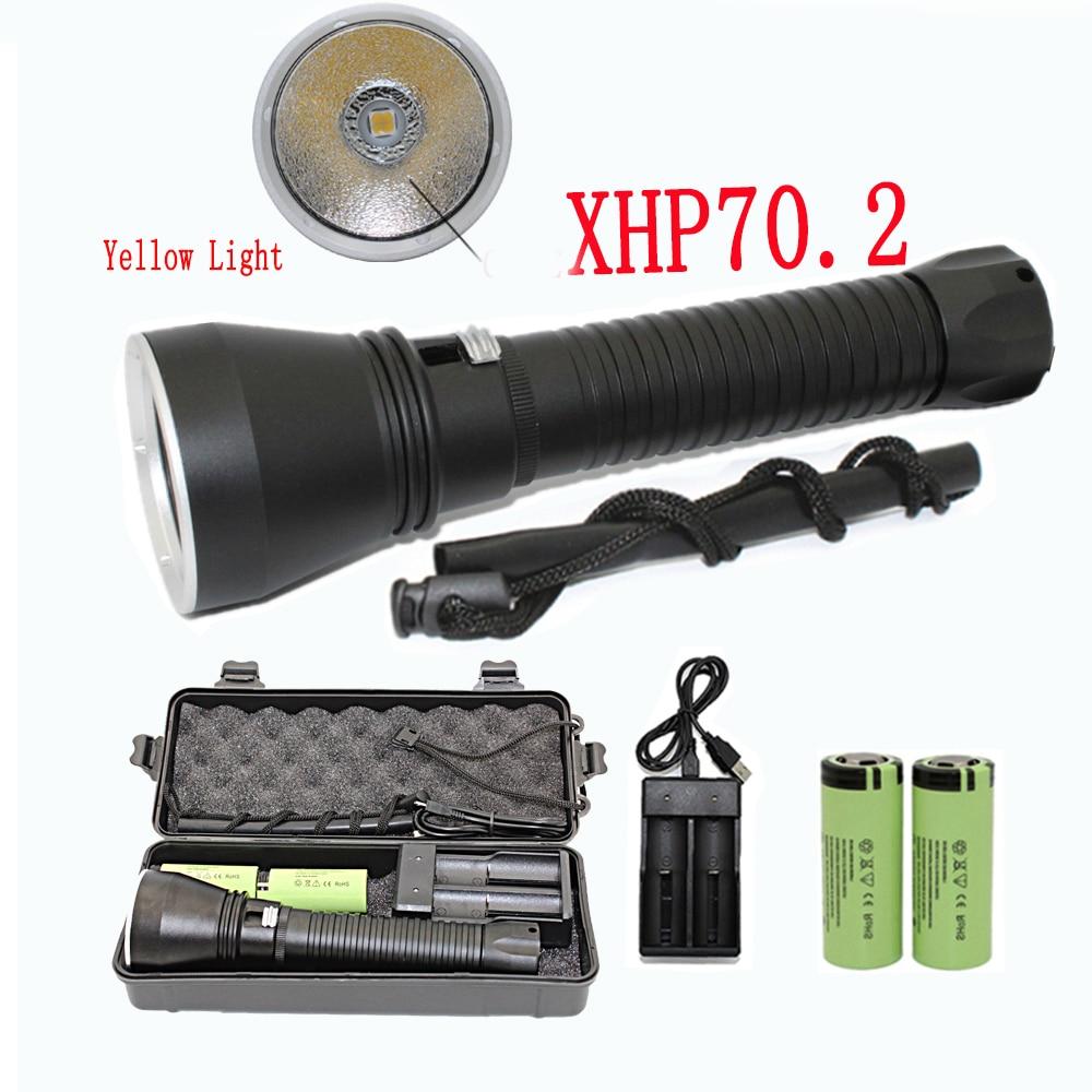 Super Brightness XHP70.2 LED Yellow Light 4000 Lumens Diving Flashlight Tactical 26650 Torch Underwater 100M Waterproof