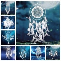 full squareround drill diamond painting dreamcatcher feather needlework diamond embroidery moonlight landscape home decoration