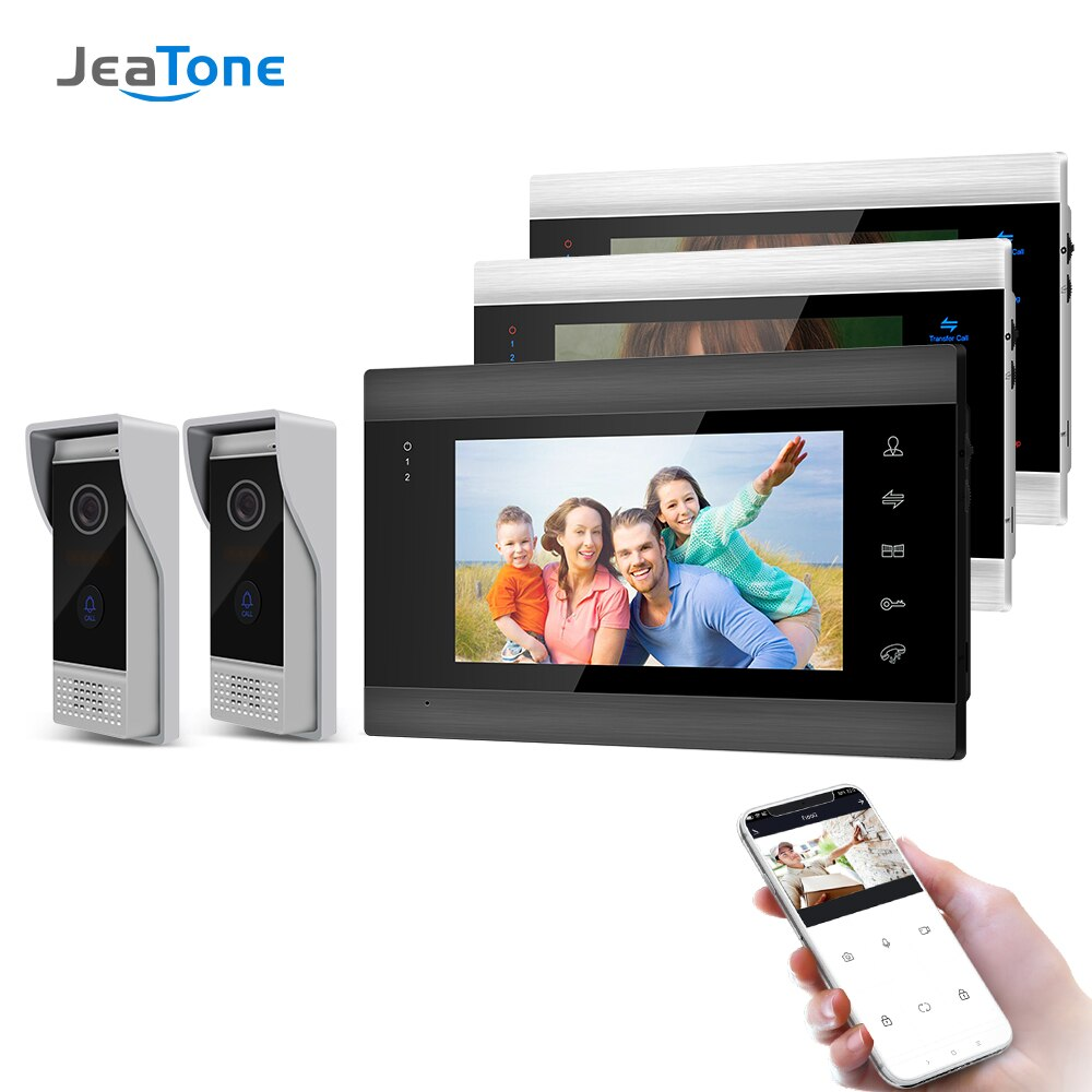 Jeatone 7 Inch Wireless Wifi Smart IP Video Door Phone Intercom System with 3 Night Vision Monitor + 2 Rainproof Doorbell Camera