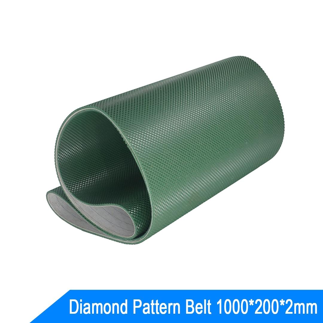 black treadmill pvc conveyor belt Green Diamond Pattern Conveyor Belt 1000*200*2MM Non-Slip Conveyor Chain Belt Customized
