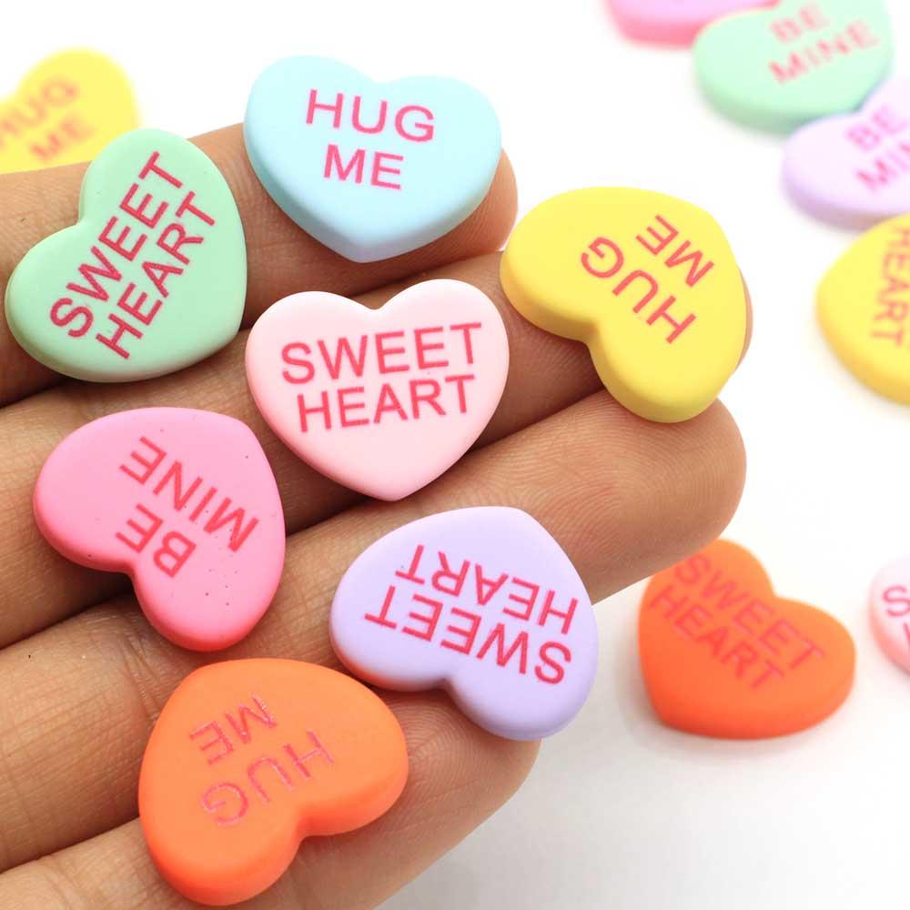 Colorful Hug Me Sweet Heart Resin Flatback Cabochon Craft Scrapbooking Hair Bow Embellishments DIY