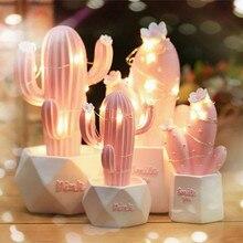 Ins Kaktus LED Tisch Lampe Rosa Nettes Mädchen Herz Traum Stern Lampe Kleine Kreative Nachtlicht Schlafzimmer Dekoration kinder geschenk
