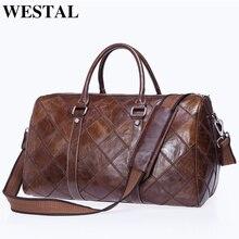 WESTAL homme bagages sacs de voyage en cuir véritable sac de sport valise et fourre-tout de voyage bagage à main sacs grand/week-end sacs 8883