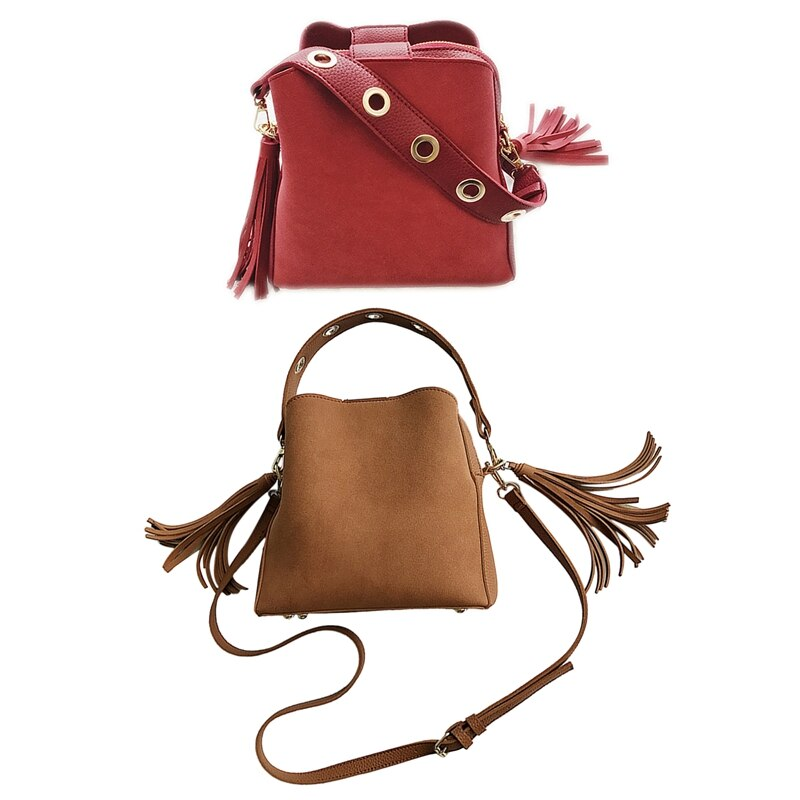 AUAU-2 Pcs Women Bucket Bag Vintage Tassel Messenger Bag Retro Shoulder Bag Simple Crossbody Bag Tote(Brown & Red)