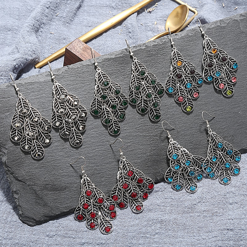 Aretes de gota étnica para mujer Vintage Crazy Feng, colgante de hoja larga de cristal, Pendientes colgantes para mujeres, pendientes de boda indios, joyería