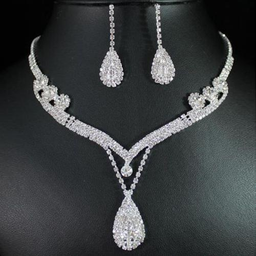 Moda Simple rhinestone collar pendientes set nupcial boda fiesta Rhinestone gota colgante collar gota pendientes Set