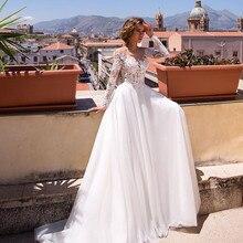 Pure Illusion manches longues robe de mariée Tulle dentelle Appliques haut boutons dos blanc robes de mariée plage formelle robe de mariée