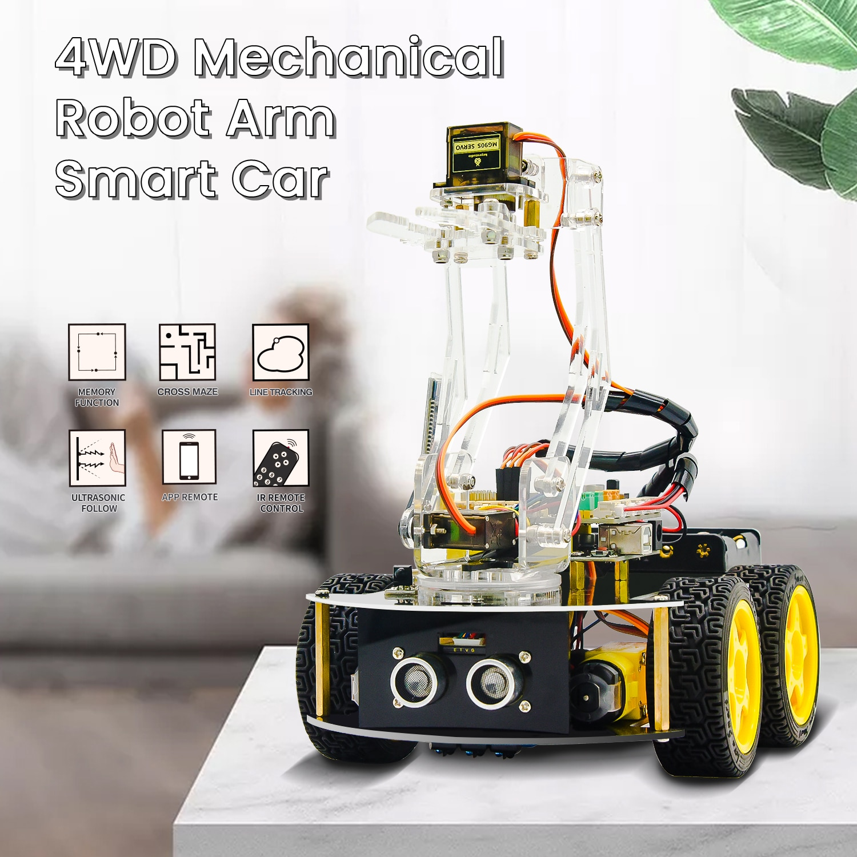 Keyestudio الميكانيكية 4WD روبوت الذراع سيارة عدة لاردوينو سيارة روبوت الذراع للبرمجة الجذعية اللعب/دعم أندرويد و IOS