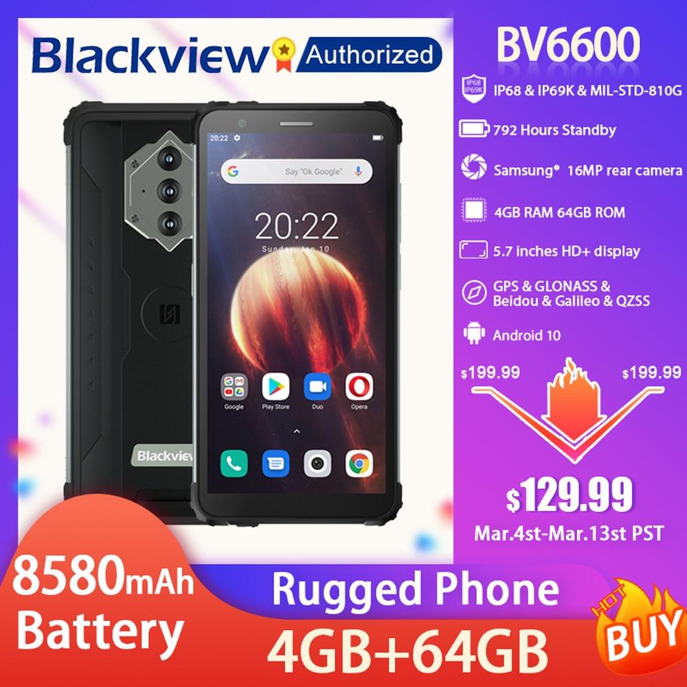 Blackview BV6600 IP68 Waterproof Rugged Smartphone 5.7'' Screen Android 10 Octa Core 4GB RAM 64GB ROM Mobile NFC 8580mAh