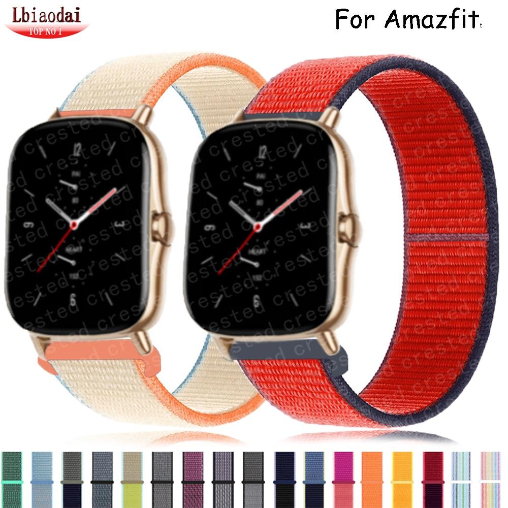20mm/22mm Nylon band For Amazfit GTS/2/2e/GTS2 Mini/GTR 42mm/47mm/GTR2/2e/stratos 2/3 Sport Loop belt Bracelet Amazfit bip strap