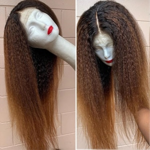 1B 27 color 26inch Transparent Lace Wigs Kinky Straight Wig Pre Plucked 13x4 Lace Front Fiber Hair Wigs Italian Yaki Lace Wig