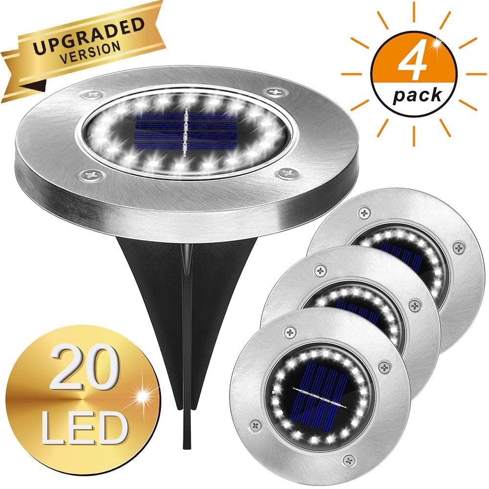 4Pack Solar Garden Lights 12/16/20LED Solar Ground Lights Waterproof Light Underground Sensing Lands