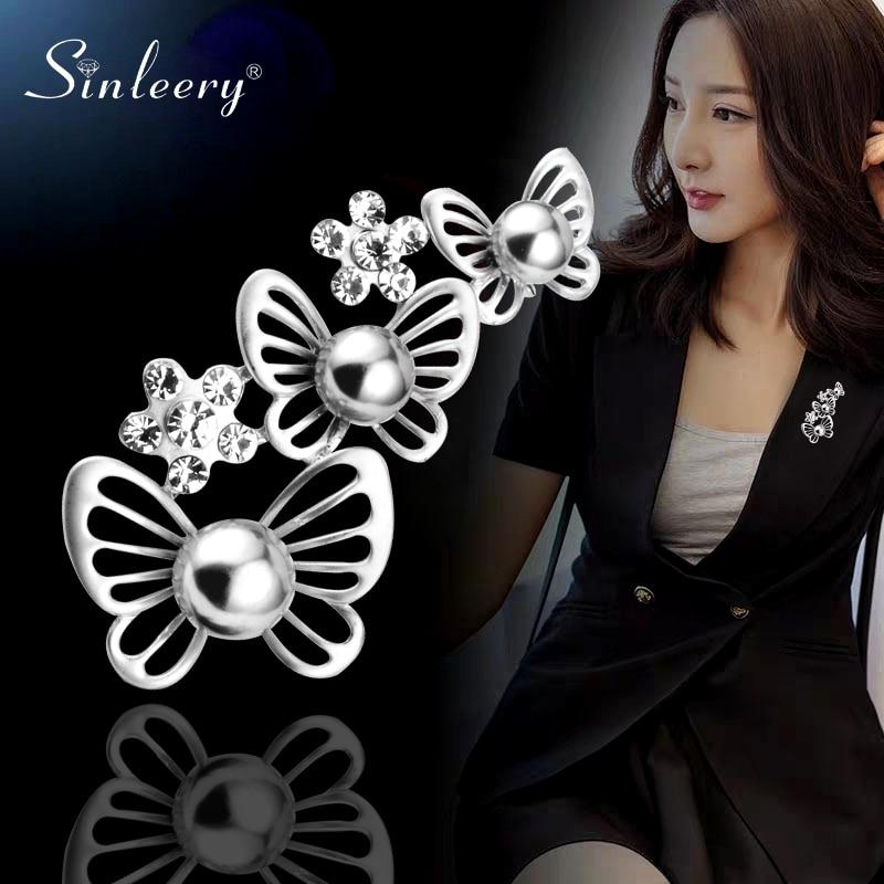 SINLEERY Vintage Animal mariposa broches con perla gris simulada ropa de mujer solapa Pin accesorios joyería XZ099 SSC