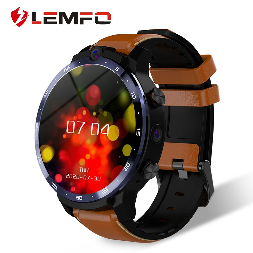 Get LEMFO LEM12 PRO Smart Watch Android 10 MT6762 CPU 4G 64GB LTE 4G Wireless Projection 900mAh Power Bank Face ID Dual Cameras Men